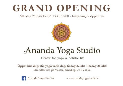 Ananda Grand Opening Flyer